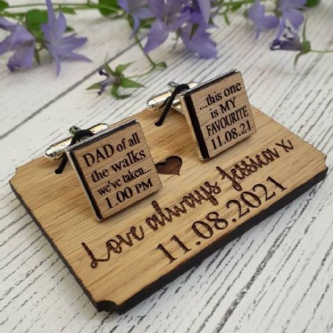 Personalised Dad Of All The Walks Wedding Cufflinks, Wooden Oak Silver Plated Cufflinks